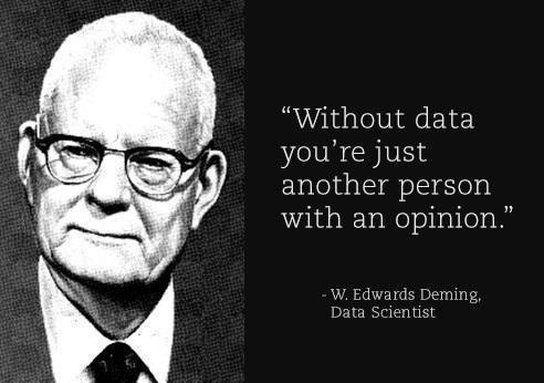 Deming: without data you are just another person with an opinion